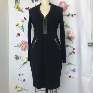 NWOT Cache pleather trim zipper detail black dress